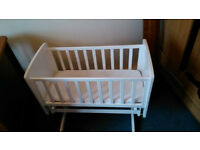 Kiddicare Gliding White Crib + Matress + Waterproof Cover + Sheets (Also a Baby Bouncy Chair)