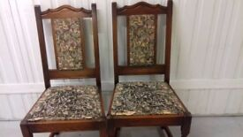 2 dining chair, solid oak, carved, high back, genuine Old Charm, a little wobbly but sturdy,no table