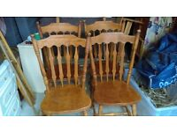 four solid oak chairs wide high back farmhouse chairs - free local delivery