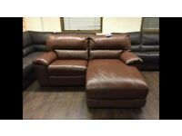 Brown genuine leather electric recliner with chaise lounge sofa