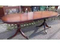 Regency dining table,mahogany,160-215CM,extendable,castor,very good,no chairs