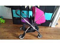 Silvercross wayfarer - pink/raspberry. Full pram + pushchair and simplicity carseat set.