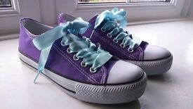 Purple Converse-style pumps/trainers, size UK 4/EU 37 - barely worn! £5
