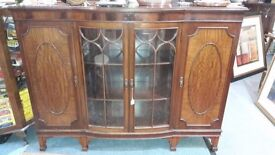 mahogany bow front bookcase/display cabinet