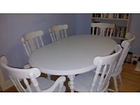 Refurbished Solid Extendable Dining Room Table and 6 Chairs - Chabby Chic Chalk Paint Winter Grey