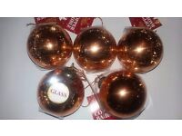 5 Luxury Copper Glass Christmas Tree Baubles Decorations