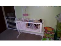 Mamas and papas white swing crib. Used once.