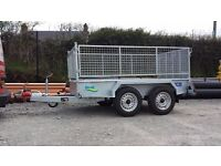 Twin wheel builders trailer meshsides and ramp