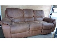 large suede brown reclining 3 seater sofa