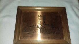 Etchmaster vintage copper engraved picture of St Davids Cathedral
