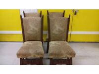 4 carved bedroom chairs,solid oak,sturdy,stable,cushion not clean,no table