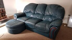 Dark Green Leather Lounge Suite