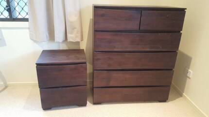 BARGAIN! Tallboy with 2x matching bedside tables (dark timber)