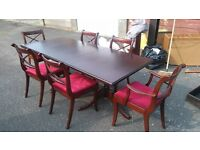 mohogany dining table and 6 chairs