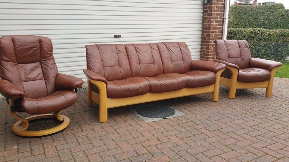 Ekornes Stressless 3 Seater Sofa 2 Leather Chairs 1 Reclining