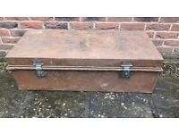 Large Vintage Metal Trunk - 'Unaccompanied' Decal' - 107cm Long