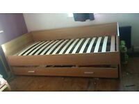 Wooden Single Bed with Draws