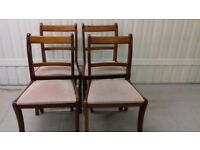 4 Regency dining chairs, very good condition, Yew wood, carved, stable, cushion clean