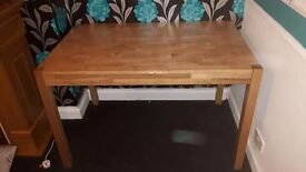 Oak Dinning Table with 4 Brown chairs