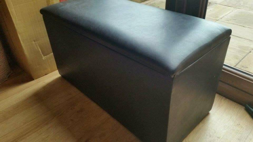 Black faux leather ottoman & storage box/laundry bin