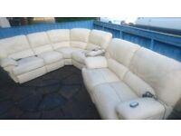 Harveys Corner Suit & 2 Seater Cream Leather Electric Recling Sofa