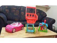 Girl Toys Barbie Car, Doll Push chair and leapfrog House