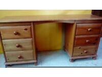 Honey Pine Double Dressing Table For Sale