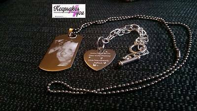 Daddy & Mummy To Be Engraved Dog Tag & Chain & Bracelet With Scan photo & text