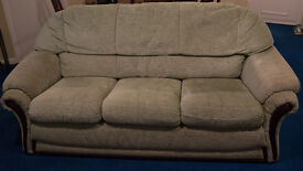 green 3 seater sofa and 2 matching armchairs FREE