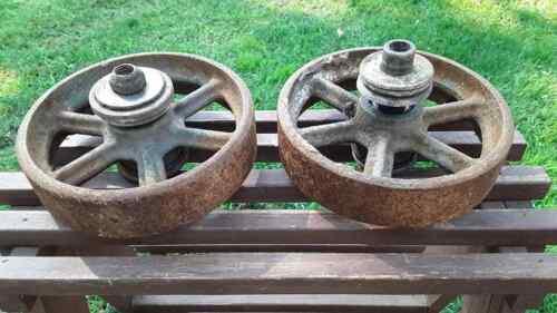 Vintage Antique Cast Iron Industrial Cart Wheels