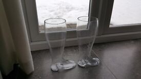 Glass Wellington Boot Vases x 2 - Pick Up Only!