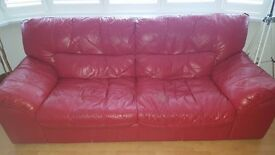 FREE!!! Red Leather 3 Seater Sofa 220cm (7 ft) very good condition. Ready to transport.