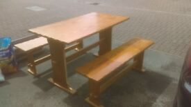 pine table and benches - free delivery seats 4 - 6 people