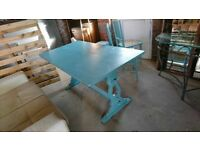 Solid wood dining table painted blue shabby chic