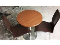 Bistro style table and 2 leather chairs