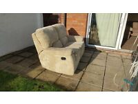 Beige large 2 seater recliner sofa for sale, 180cm in width, £90.00 will deliver