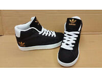 Black Adidas Hightops £15 a pair various sizes available from Adults 3-7
