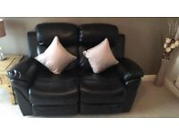 3+2 Leathaire Reclining set of black sofas 7 Mths old- cost £899 new Bargain