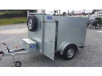 New galvanised 7x4x4 single wheel box trailer with brakes & side door spare jockey prop stand lock