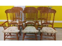 6 dining chair,solid oak,carved back,high back,stable,cushion acceptable