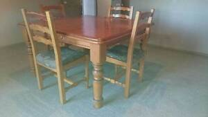 Solid square pine dining table plus 8 (eight) chairs Armidale Armidale City Preview
