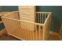 Childrens bed. Its dimensions are 124cm (l), 64cm (d), 78cm (h). Base raises to 1 higher position