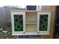 painted wooden wall unit with stainglass windows - free delivery