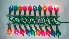 Set of 20 Woolworths Vintage Christmas Fairy Lights Multi Coloured Spiked Flower