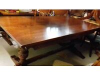 solid oak dining table,genuine Old Charm,carved leg,length,long 185cm,wide 90cm