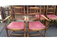 2 dining chair,solid oak,spindle back,carved,clean cushion,2 carver,VGC,no table