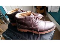 Mens Clarks Brown Leather Boot Shoes Size 10.5