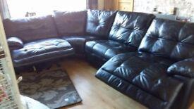 Black leather end recliner corner sofa