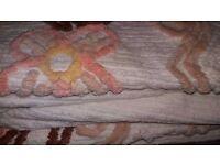 Vintage Floral Design / Patterned High Pile Candlewick Double Size Bedding