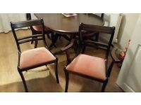 Mahogony Dining table and 6 chairs including 2 carver chairs